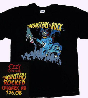 Ozzy Obourne Monsters Of Rock Calgary 2008 Black Large L T Shirt New.