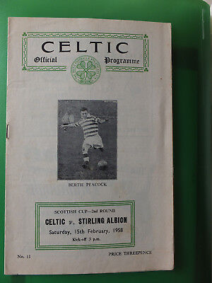 Celtic v Stirling Albion 1957-1958 Scottish Cup 2nd Round