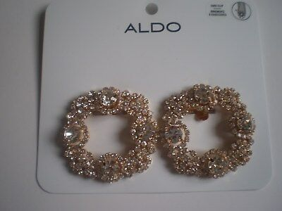 ALDO GOLD TONE CIRCLES with BLING SHOE CLIPS