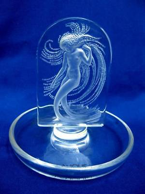 Signed Lalique Art Glass Crystal Intaglio Mermaid Naiade Water Nymph Ring Dish