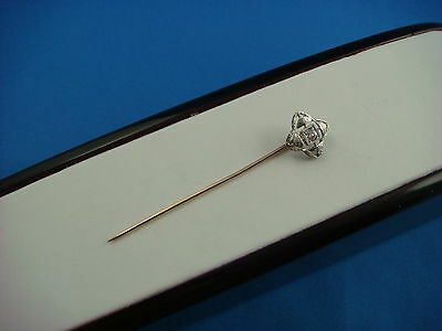 Striking Antique Art-Deco Stick Pin With Old Mine Clear Diamond 0.10 Ct.