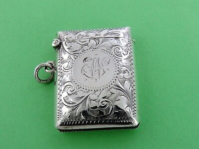 Lovely engraved Victorian SILVER VESTA CASE, Birmingham 1900 by JC MATCH SAFE