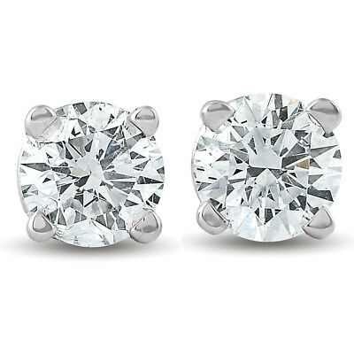 1/2Ct Round Brilliant Cut Natural Diamond Stud Earrings In 14K Gold