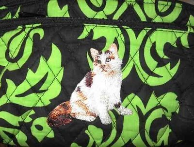 Q cosmetic CALICO LH CAT Quilted Damask Green Dble Zip Fabric Cosmetic Bag