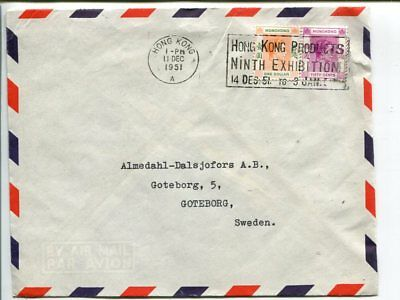 Hong Kong air mail cover to Sweden 1951