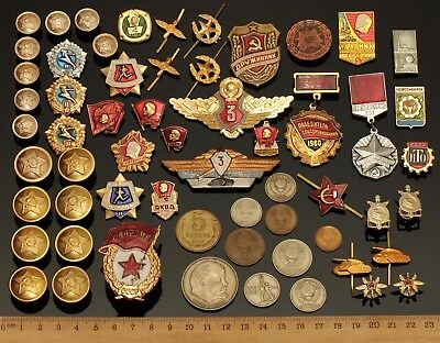 Old Soviet Russian CCCP Army Cold War Lenin Badge Medal Button Pin Coin 60 Lot