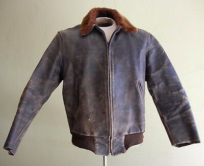 Vtg 1940s-50s Brown HORSEHIDE Leather FLIGHT Bomber JACKET Motorcycle WELL WORN