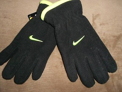 NWT Boys Youth NIKE Black/Green Fleece Gloves