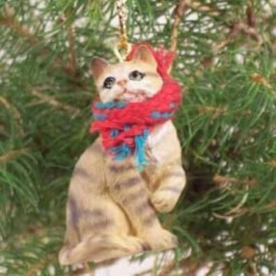 CAT Small BROWN TABBY CAT Resin Xmas Ornament CLEARANCE SALE
