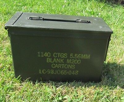 Ammo Can Box US Army Military M2A1 5.56mm M200 Ammunition Metal Storage