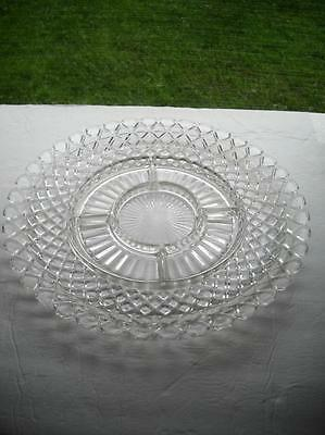 """Anchor Hocking Waterford/Waffle 14"""" Relish Tray With No Faults Found On It"""