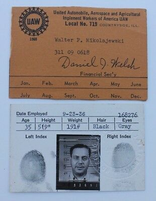 1936 Studebaker Employee Identity Id Card & UAW Workers Local No. 719 Card