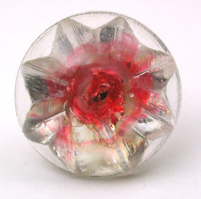 """Antique Radiant Glass Button Glory Mold w/ Pink Color - 9/16"""""""