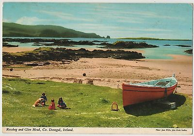 ROSSBEG AND GLEN HEAD Co. DONEGAL 1976 USED JOHN HINDE POSTCARD STAMPED 2/87