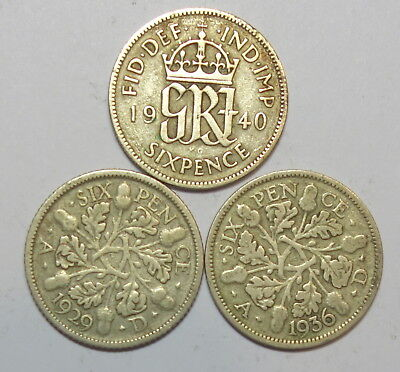 Great Britain : Three Sixpences. 1929, 1936 &1940.  0.500 Silver.