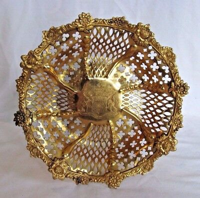 Ornate Reticulated English Georgian Gold Vermiel Tazza Fruit Bowl Taylor Crest