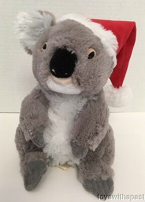 "Minkplush EUKEE Koala Bear 9"" Plush Santa Hat Stuffed Animal 2010 Australia"