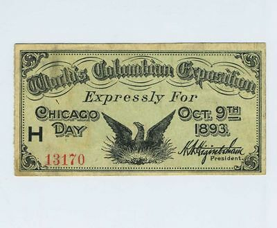1893 Exposition World's Expo Fair Ticket Stub Chicago IL Day Oct 9th bv1963