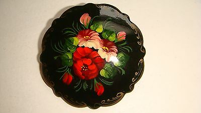 Vintage Russian Wooden Hand Painted Laquered Floral Pin Brooch Signed Estate