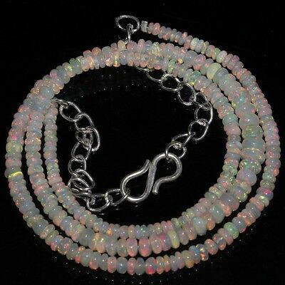 28 Ct Natural Ethiopian Welo Fire Opal Smooth Rondelle Plain Beads Necklace 1450