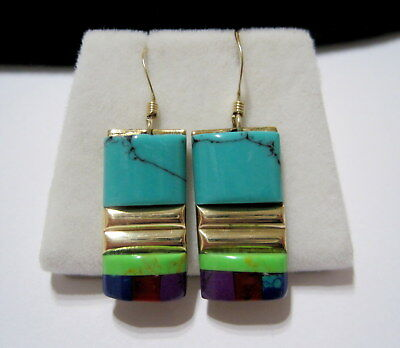 COLORFUL Vtg SW NATIVE Old Pawn MIXED INLAID GEMSTONE 14K GF DROP EARRINGS sgnd