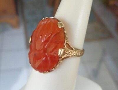 ANITQUE ART DECO 10K GOLD NATURAL CARVED CARNELIAN HALLMARKED RING NOUVEAU Sz5