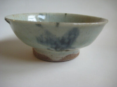 Antique China Qing Dynasty Blue White Ceramic Miner Bowl Pre-1900 Folkware A