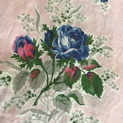 Vintage 1940's-1950's PINK Blue ROSE Cotton Fabric Country Cottage Floral 10 yds