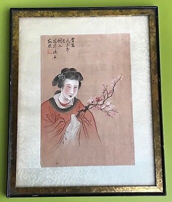 Antique Chinese Painting On Silk Signed 19 Century Qing Beauty Holding Branches