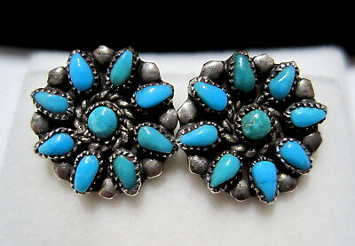 GORGEOUS Vtg OLD PAWN SW NATIVE Turquoise Floral Cluster PIERCED SILVER EARRINGS
