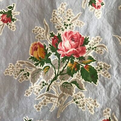 Vintage 1940's-1950's Cottage Floral  Blue ROSE Cotton Fabric 3 yds