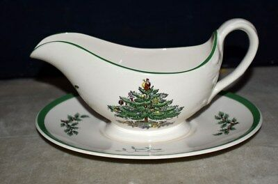 Nice! Spode Christmas Tree Pattern Gravy Boat W/underplate - S3324