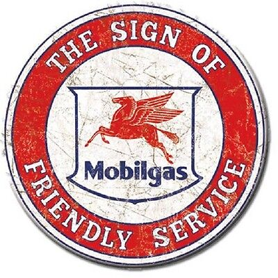 New Mobilgas Mobil Pegasus  Friendly Service Gas 3 Inch Miniature Sign Magnet