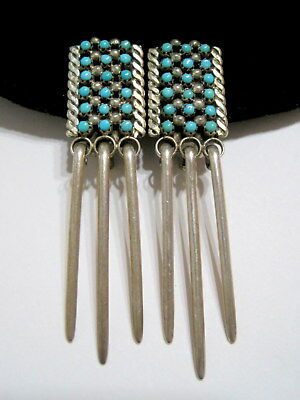 SUPERB Vtg OLD PAWN SW NATIVE Turquoise Micro Dot Cabochon SILVER Clip EARRINGS