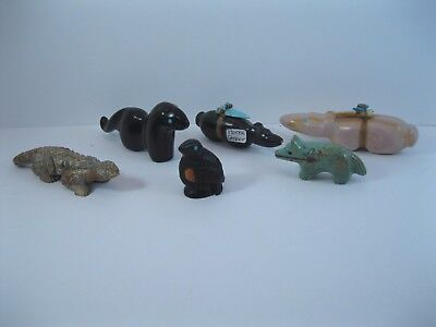 Lot 2 - Collection of 6 Zuni Carved Stone Animal Fetishes some Signed