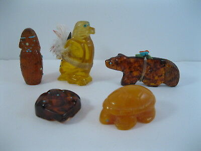 Lot 5 - Collection of 5 Zuni Carved Amber Animal / Maiden Fetishes some Signed