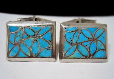 STUNNING Vtg OLD PAWN SW NATIVE Fancy Inlaid Turquoise STERLING SILVER CUFFLINKS