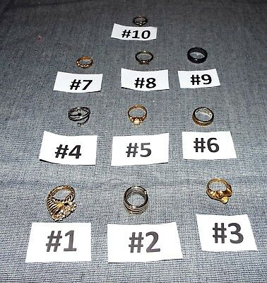 Lot of 10 VINTAGE FASHION RINGS - Listed & Pictured - EUC