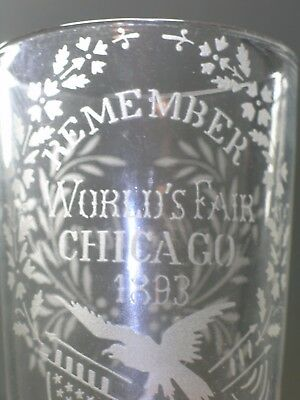 1893 WORLD'S FAIR ETCHED GLASS TUMBLER Patriotic Eagle COLUMBIAN EXPOSITION