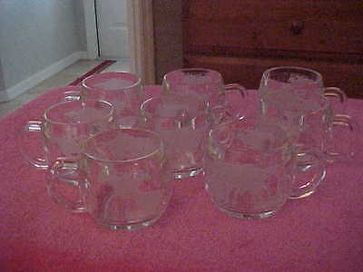 Vintage 1970's Nestles-Nescafe Etched Glass World Globe Mugs Set Of 8