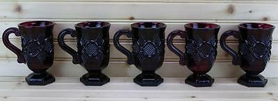 Avon 1876 Cape Cod Collection (5) Pedestal Mugs |Ruby Red - Discontinued