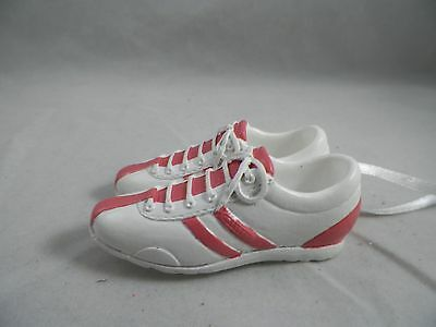 White and Pink Striped Sneakers Christmas Tree Ornament new holiday