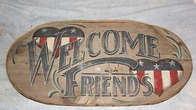 Wood Oval Sign Welcome Friends Hand Painted by Pat Little Trails End Art  C@@L