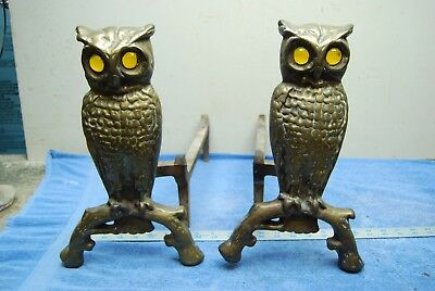 Antique Brass Owl Fireplace Andirons~ Ornate Glass Marble Eye Bird Figurines!