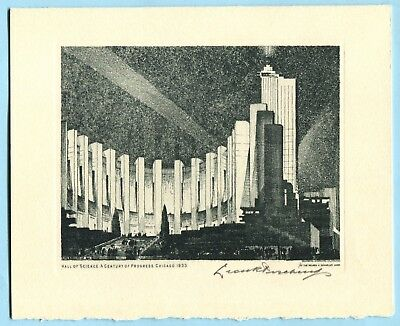 1933 Chicago World's Fair LEON PESCHERET * SIGNED ETCHING Listed Artist SCIENCE