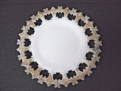 VTG milk glass Fleur-de-lis plate Gold trim ?Possible Beaded Edge Westmoreland ?