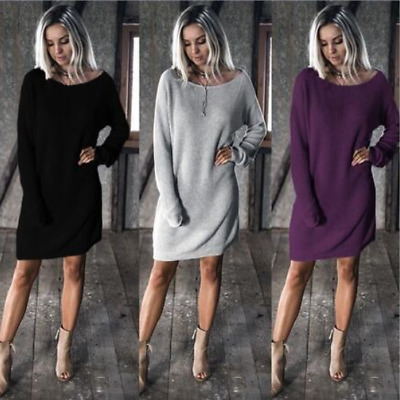 UK Fashion Womens Cable Knitted Sweater Long Sleeve Pullover Mini Jumper Dress
