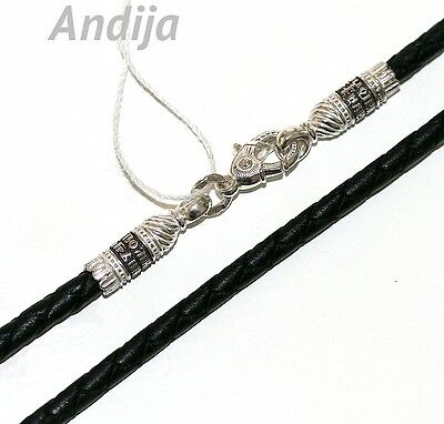 BLACK LEATHER ORTHODOX JEWELRY NECK CORD.925 STERLING SILVER 925.70cm, 27.5""