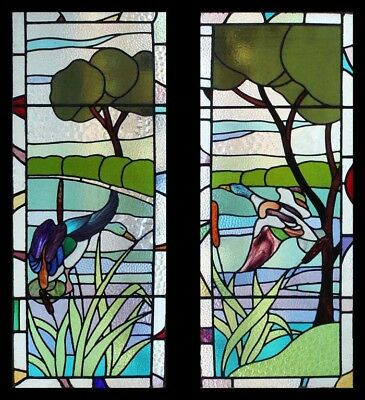 Rare Art Deco Pair Flight Of Ducks In Forest English Stained Glass Windows