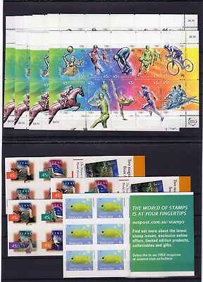 AUSTRALIA , VALID POSTAGE , SPORTS ,S/S and BOOKLETS, FACE VALUE AUS $ 55 , MNH
